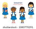 cute school girl characters... | Shutterstock .eps vector #1083770291