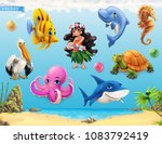 Little girl with a seashell. Funny sea animals and fishes. 3d vector icon set | Shutterstock vector #1083792419