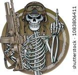 skeleton shows middle finger... | Shutterstock .eps vector #1083806411