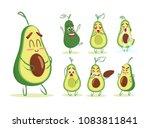 cute cartoon avocado collection.... | Shutterstock .eps vector #1083811841