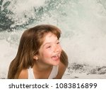 summer fun  laughing dreamily... | Shutterstock . vector #1083816899