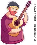russian guy playing the guitar | Shutterstock .eps vector #1083819917
