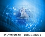 double exposure. it man working ... | Shutterstock . vector #1083828011