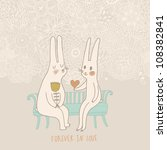 Cute Wedding Card With Rabbits...