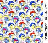 fashion girl seamless pattern....   Shutterstock .eps vector #1083833894