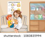 a sick boy with doctor... | Shutterstock .eps vector #1083835994