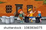 kids collect trash in city... | Shutterstock .eps vector #1083836075
