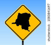 dr congo map road sign. square... | Shutterstock .eps vector #1083841697