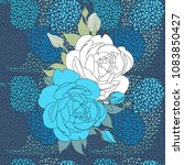 blue background with blue roses   Shutterstock .eps vector #1083850427