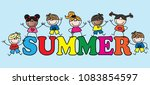 summer header diverse children | Shutterstock . vector #1083854597