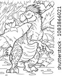 coloring book dinosaur vector...   Shutterstock .eps vector #1083866021