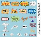 big set of pixel inscriptions.... | Shutterstock .eps vector #1083874967