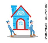 moving house home work with... | Shutterstock .eps vector #1083904589