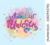 rainbow unicorn text isolated... | Shutterstock .eps vector #1083943781