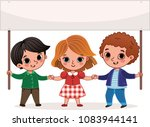 cartoon kids holding a banner.... | Shutterstock .eps vector #1083944141