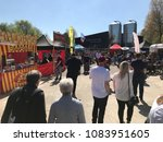 LANCASTER, UK.  05/05/2018. People arriving at the Lancaster Food and Drink Festival, held at Lancaster Brewery, Lancaster, UK - stock photo