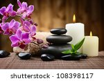 zen basalt stones and bamboo on ... | Shutterstock . vector #108398117
