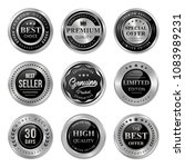 premium quality silver badges... | Shutterstock .eps vector #1083989231