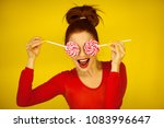 beautiful funny woman in red... | Shutterstock . vector #1083996647