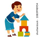 cheerful child builds high... | Shutterstock .eps vector #1083998954