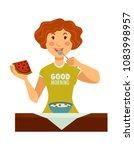 woman in good morning t shirt... | Shutterstock .eps vector #1083998957