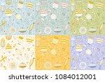 six spring summer floral... | Shutterstock .eps vector #1084012001
