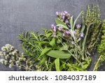 Small photo of Close up view of bunch of fresh herbs from garden on a dark background; rosemary, oregano, sage , thyme, Satureja (savory) and Aloysia citrodora (herb louisa) Copy space