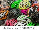 sale bicycle helmet. | Shutterstock . vector #1084038191