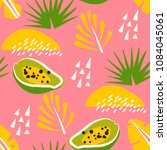 tropical pattern with papaya... | Shutterstock .eps vector #1084045061