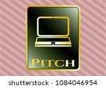 golden badge with laptop icon ... | Shutterstock .eps vector #1084046954