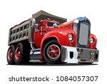 vector cartoon retro dump truck....   Shutterstock .eps vector #1084057307