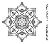 mandala coloring  black and... | Shutterstock .eps vector #1084087907