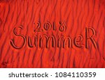 inscription on the red sand... | Shutterstock . vector #1084110359
