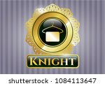gold badge or emblem with... | Shutterstock .eps vector #1084113647