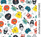 seamless pattern with cute... | Shutterstock .eps vector #1084124681