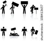 set of black human icons on... | Shutterstock .eps vector #108413657
