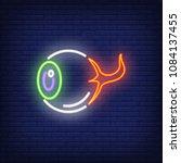 human eye neon sign. horrible... | Shutterstock .eps vector #1084137455