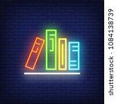 books on shelf neon sign.... | Shutterstock .eps vector #1084138739