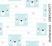 cute pastel bear face seamless... | Shutterstock .eps vector #1084145477