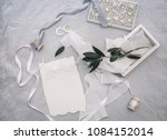 wedding invitation card with... | Shutterstock . vector #1084152014