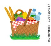 picnic basket on grass. vector... | Shutterstock .eps vector #1084164167