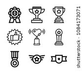 set of 9 award outline icons... | Shutterstock .eps vector #1084173071