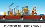 factory in industrial zone with ... | Shutterstock .eps vector #1084175027