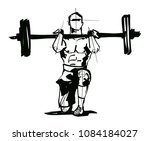 man is doing an exercise with a ...   Shutterstock .eps vector #1084184027