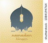 mosque silhouette vector... | Shutterstock .eps vector #1084194764