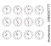 clock icon set. classic round... | Shutterstock .eps vector #1084247777