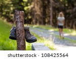 Abandoned Hiking Shoes With A...