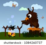 owl fry the mouse at the stake  ... | Shutterstock .eps vector #1084260737