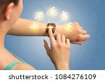female hand with smartwatch and ... | Shutterstock . vector #1084276109
