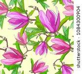 blooming pink magnolia on light ... | Shutterstock .eps vector #1084300904